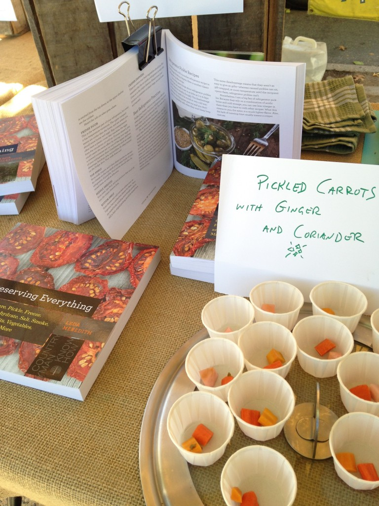 "Handing out pickled carrot samples with copies of ""Preserving Everything"""