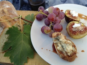mosto cotto on blue cheese and sourdough bread, and on figs stuffed with ricotta