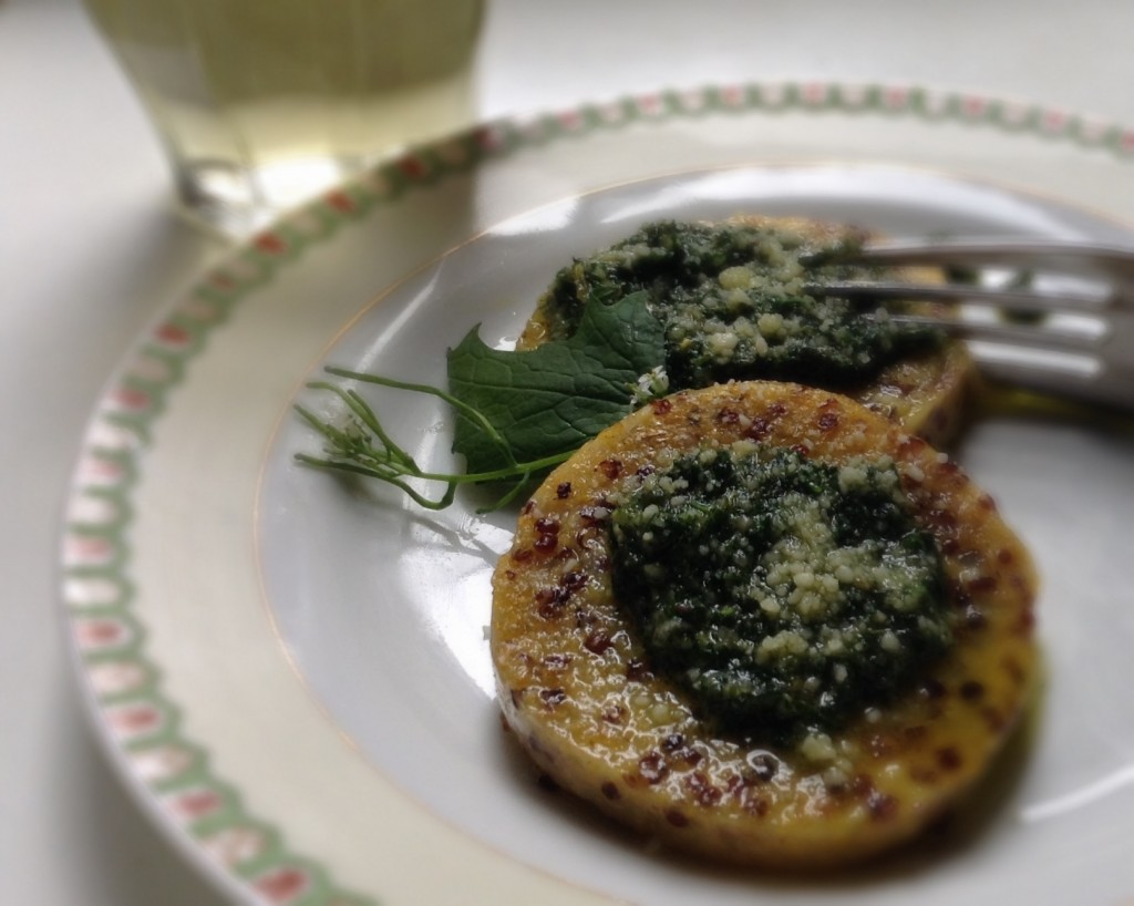 Wild garlic mustard leaf pesto on fried polenta